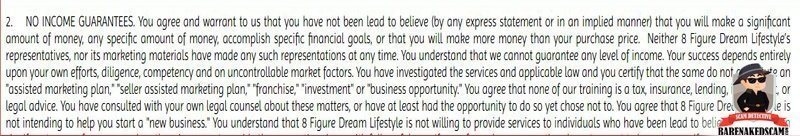 8 Figure Dream Lifestyle Income Disclosure