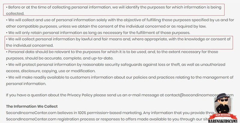Second Income Center Privacy Terms