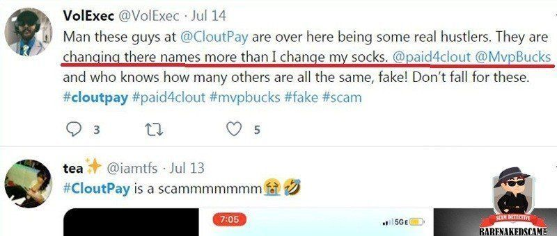 Clout Pay Scam Twitter Post