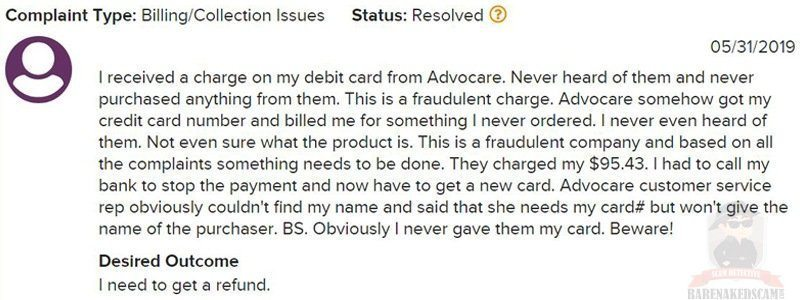 AdvoCare Fraudulent Charge