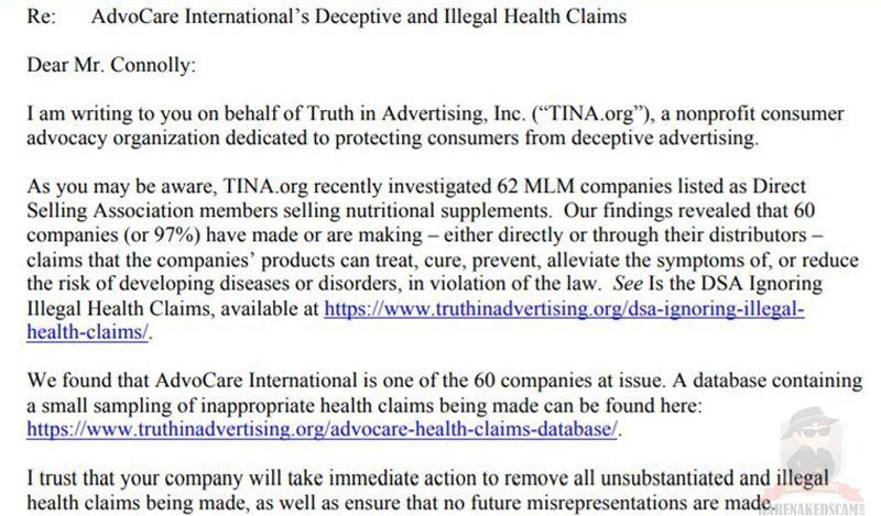 AdvoCare Illegal Health Claims