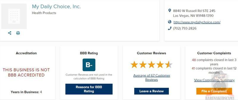 My Daily Choice BBB Rating